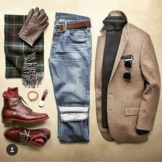 Smart casual outfit grid: blazer, turtleneck, boot, scarf, jeans Source by maximilianjulius Outfits for men Smart Casual Outfit, Casual Outfits, Men Casual, Casual Shoes, Look Fashion, Unique Fashion, Fashion Outfits, Fashion Photo, Style Masculin