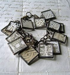 antique lace housed in soldered charms/bracelet  delectable-collectibles.tumblr.com