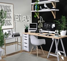 sims 4 cc // custom content clutter decor furniture // // ikea alex desk and Home Design, Sims 4 House Design, Sims 4 Cc Furniture Living Rooms, Mod Furniture, Living Room Sims 4, Bedroom Furniture, Muebles Sims 4 Cc, Sims 4 Bedroom, Sims 4 Clutter