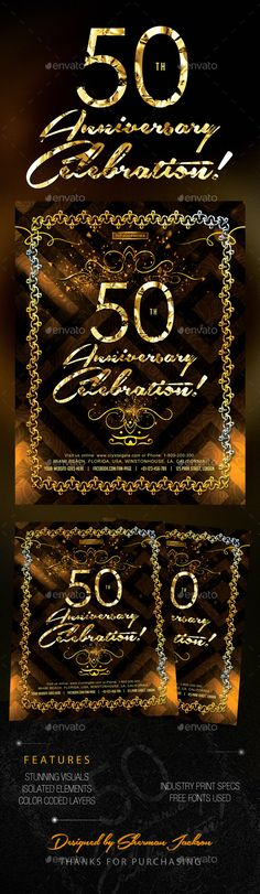 Presenting to you Golden 50th Anniversary & Birthday Celebrations. This set is ideal if you are hosting or promoting an anniversar