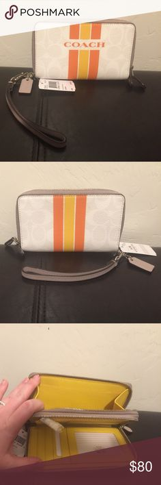 Coach Varsity Double Zip Wristlet! Coach Double Zip wristlet new with tags!! In a sporty white chalk color with orange stripes. Cheery yellow interior.  Durable coated canvas embossed to look like leather and accented with shiny silver tone hardware.  Adorable and perfect to carry all your credit cards, check book, and so much more! Even a zip pocket inside for coins!  Smoke and pet free home. Need the closet space, so my loss is your gain :) Coach Bags Clutches & Wristlets