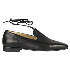 Tatuna Nikolaishvili - Black Loafers - Shoes ($300) ❤ liked on Polyvore featuring shoes, loafers, ankle wrap shoes, black flat loafers, black loafer shoes, black leather loafers and flat shoes