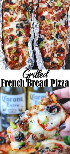 This Grilled french bread pizza recipe is loved by both kids and adults. Loaded with all your favorites and cooked to crisp cheesy perfection. Grilled French Bread Pizza Supreme Recipe - Butter Your Biscuit ro Pizza Hut, Grilling Recipes, Cooking Recipes, Grilled Pizza Recipes, Bread Recipes, Flatbread Pizza Recipes, Grilled Bread, Sandwich Recipes, Easy Cooking
