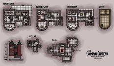 I made this map for the Ravenloft players out there: The Crimson Chateau [OC] : DnD