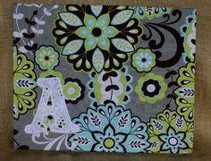 Eyelet Lace Applique Letter Wall Art, Aqua/Lime Floral  $15