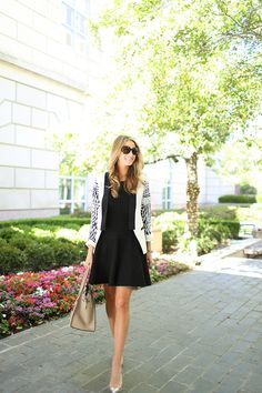 Adorable Black Spring Dress topped with a Leopard Cardigan