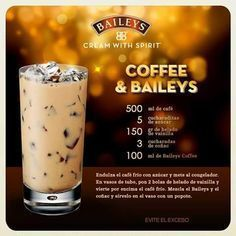 25 drinks recipes with Baileys liquor that will make your mouth water Dessert Drinks, Bar Drinks, Cocktail Drinks, Coffee Drinks, Yummy Drinks, Cocktail Recipes, Alcoholic Drinks, Beverages, Desserts