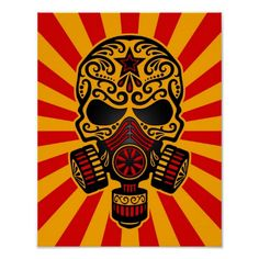 This post apocalyptic skull is equipped with a large gas mask. Intricate lines and swirls decorate the forehead and cheeks in the style of the Day of the Dead sugar skulls. Rays of light shine in all directions emanating from behind the skull. This symmetrical pattern is a stylish graphic with a post apocalyptic theme.