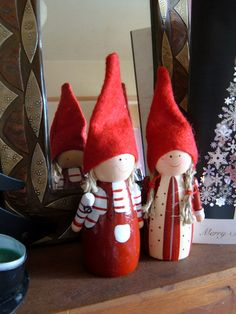 Danish Christmas elves- our Mother Goose peg dolls would be ideal for these