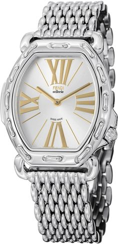 Fendi Womens F84236HBR8153 Analog Display Swiss Quartz Silver Watch -- Want  additional info  Click on the image. (Note Amazon affiliate link) 3b0139eb2e