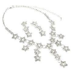 Amazon.com: Silver Crystal Rhinestone Bridal Wedding Party 3 Stars and Rings Drop Earrings & Multi Stars and Rings Necklace Jewelry Set - Ha...