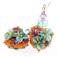 Heart Lampwork Earrings,Glass Bead Earrings,Blue Flower Earrings,Orange Earrings from Jadjus Jewelry