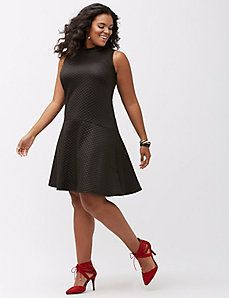 75225272b17 Quilted mock neck dress by ABS by Allen Schwartz Curvy Fashion Plus Size