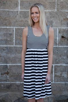 Ping Pong Stripe Gather Front Jersey Dress Womens Knee Length Dresses Birdsnest Clothing Online