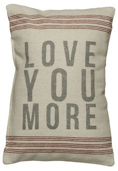 Rustic Love You More Accent Throw Pillow