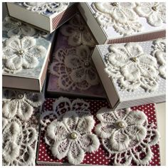 Matchboxes decorated with lace