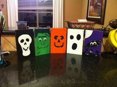 Set of friendly looking Halloween characters made from scrap 1x6 pine wood, acrylic paints, glue and some googly eyes.  The wooden set includes a skeleton, a pumpkin, a ghost, a bat and Frankenstein.