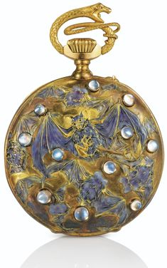 'Papillons et Chauves-souris', an enamel, moonstone and gold pocket watch by…