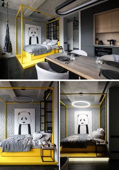 Gorgeous Monochrome Bedroom With Pops Of Color Collection Monochrome Bedroom, Monochrome Interior, Modern Interior, Small Home Offices, Small Apartments, Bedroom Wall Colors, Bedroom Decor, Bedroom Yellow, Bedroom Loft