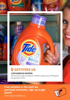 Our warehouse is FULL! These FREE Tide Laundry Detergent samples must go! Once they're gone, they're gone! Sign up now for freebies so good you will feel guilty not paying for them! No credit card or purchase necessary.