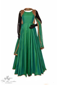 Flattering jade-green frock suit adorn in cut-dana work