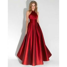 Abendkleider 2015 Long Red Evening Dress Halter Formal Dresses Imported Satin Evening Gown Sexy Robe de Soiree