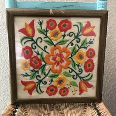 A personal favorite from my Etsy shop https://www.etsy.com/listing/514606823/vintage-needlepoint-floral-crewel-wall