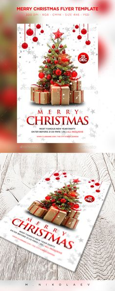 Merry Christmas Flyer — Photoshop PSD #vibrant #happy holidays • Download ➝ https://graphicriver.net/item/merry-christmas-flyer/19003666?ref=pxcr
