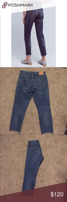 Levi's iconic wedgie fit denim The jeans are the perfect classic Levi's!! Blue wash and 4 hidden buttons. I did cut them to be a bit shorter, I am 5'2 they hit me above my ankle. They have also been in the wash so the bottoms are distressed. They really are amazing pants! I've just gained weight so they don't fit anymore. Let me know if you want more information! 😃 Levi's Jeans Ankle & Cropped