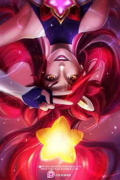 """olchas: """" High-res image, step-by-step, brushes and more available through my Patreon! ;) Have you seen new Star Guardian skins in League of Legends? I think that the one for Jinx and for Janna look really good so painted this art)) Maybe I should..."""