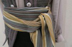 Striped Pirate Sash Gray Yellow Ivory Color Scheme Historical Pirate Cosplay Style wujpU