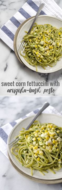 Fettuccini with Arugula Pesto and Sweet Corn- the perfect pasta for summer! Ready in just 20 minutes! Vegetarian, easily vegan.   www.delishknowledge.com