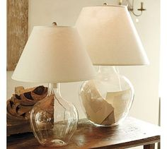 Bacchus Glass Table & Bedside Lamp...fill with book pages, shells, sand, etc. #potterybarn