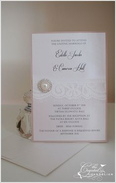 wedding invitation with lace.
