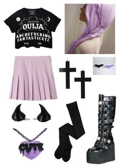 """Pastel Goth"" by pipertehcat ❤ liked on Polyvore featuring Demonia, Kreepsville 666, women's clothing, women's fashion, women, female, woman, misses, juniors and pastelgoth"