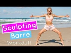 Time to tone up with this sculpting barre workout - we're going to do ballet exercises for lean legs & arms and a better butt & core! Ballet Barre Workout, Barre Workout Video, Barre Exercises At Home, Cardio Barre, Thigh Exercises, Pilates Workout, Workout Videos, At Home Workouts, Barre Fitness