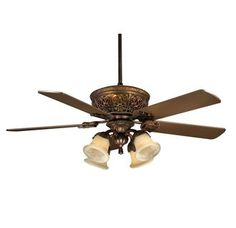 """View the Savoy House KP-52-100-MO-52 Empire 52"""" Five-Blade Indoor Ceiling Fan, Finished in Bark and Gold at Build.com."""