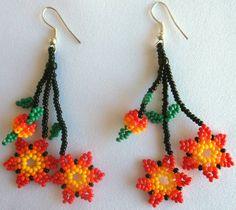 Huichol Beaded Flower earrings by Aramara on Etsy