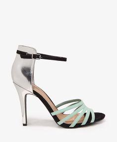 Metallic Heel Strappy Sandals