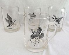 Glass Mugs Vintage 10 oz.Goose Canvasback Canadian Ring Neck Pheasant Grouse