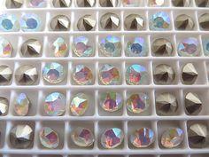 12 White Opal AB Foiled Swarovski Crystal Chaton Stone 1088 29ss 6mm