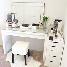 Vanity Table created using makeup storage from Vanity Collections. Also at Instagram @ vanitycollectionsxo