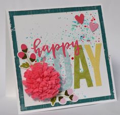 Jillibean Soup: Happy Day Card by Karyn Schultz featuring Jillibean Soup Bohemian Brew collection and Felt Flowers.