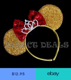 Minnie Mouse Ears Tiara Gold Yellow Sequin Red Bow Beauty And The Beast Belle