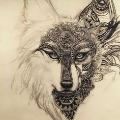 Working on this spirit animal wolf design for a tattoo