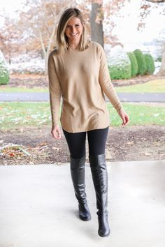 Sporty Outfits, Fall Outfits, Fashion Outfits, Womens Fashion, Tunics With Leggings, Leggings Sale, Cheap Leggings, Living In Yellow, Botas Sexy