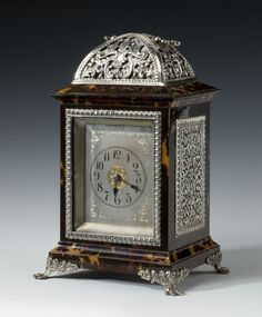 Tortoiseshell & Sterling Silver Carriage Clock, 1889, London