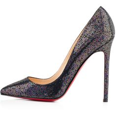 Christian Louboutin Pigalle (2.205 BRL) ❤ liked on Polyvore featuring shoes, pumps, christian louboutin, heels, louboutin, blue khol, sky high, women, high heel shoes and glitter pumps