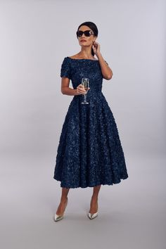 full skirt outfit French Navy floral lace tea dress with bateau neckline, short cap sleeves and full circle skirt Available in High Low and Pencil Mother Of The Bride Fashion, Mother Of The Bride Dresses Long, Mother Of Bride Outfits, Wedding Outfits For Groom, Dresses To Wear To A Wedding, Full Skirt Outfit, The Dress, Mob Dresses, Tea Length Dresses
