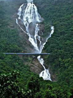 ✯ Dudhsagar Falls, South Goa-India 5th tallest waterfall with railway track and an express train passing through.✯